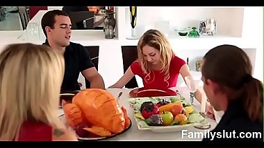 STEP SISTER SUCKS AND FUCKS BROTHER DURING THANKSGIVING DINNER - Familyslut.com