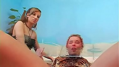 Concupiscent slut takes a golden shower on booty after fucking hard