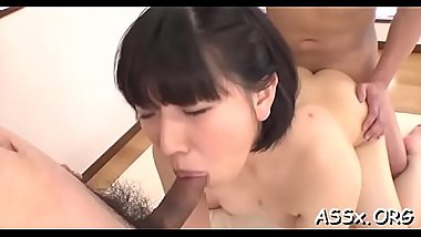 Wild japanese chick delights her cum-hole and anal with sex tools