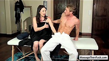 Hot big tit brunette milf RayVeness suck her masseur fat cock