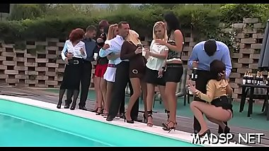 Bunch of hotties choke and jump on monster rods at a party