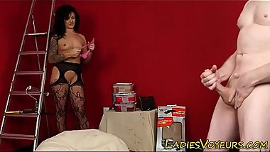 Horny domina teases loser