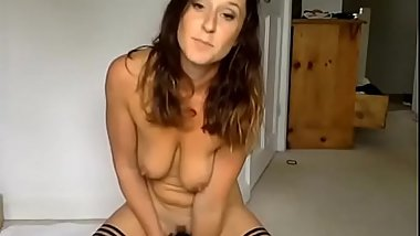 Busty Milf masturbates in stockings