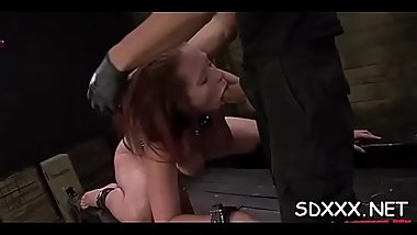 Bounded hottie gets a mouthful of cock in rough sex scenery