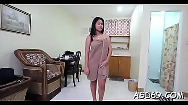 Oriental girl shows off her banging skills to a curious chap