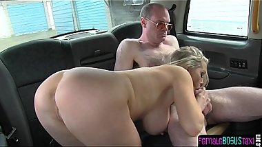 Gorgeous taxi MILF tugging and sucking dick