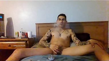 Tatted Stud Smokes And Beats His Meat ( Camguysworld )