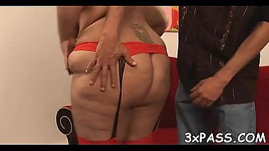 Mature fatty loves to feel fat rods stuffing her juicy snatch