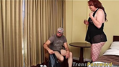Fishnets clad redhead tranny hammers deviants tight asshole
