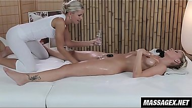 Blonde Masseuse Shows Client Her Fingering Technique