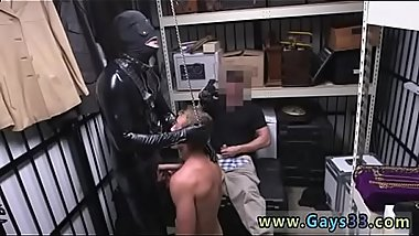 Doctor masturbates straight gay Dungeon master with a gimp