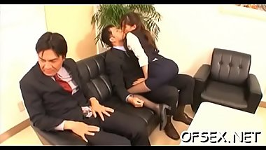 Shy honey enchants her lascivious older colleague in the office