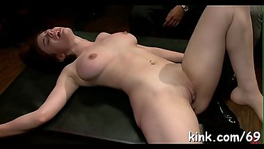 Natural breasty girlfriend shared, screwed and dominated in bondage!