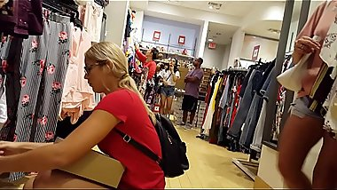 Candid voyeur blonde pawg thick shopping
