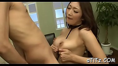 Stud is ravishing japanese babe'_s perky big milk cans wildly