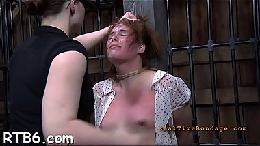 Upside down chick gets her nipples clipped during hardore sex