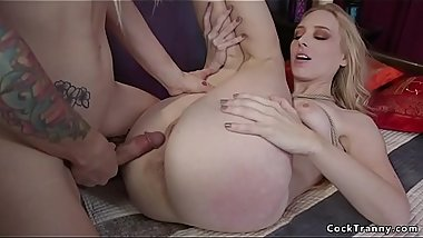 Tranny rough fucks blonde step sister