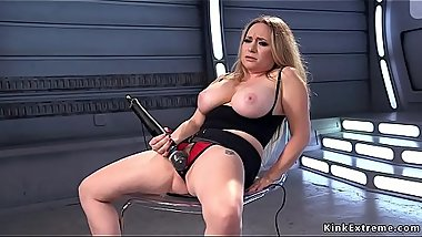 Natural big tits blonde fucks machine doggy