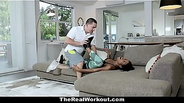 FIT EBONY TRAINER  SQUAT ON HARD COCK