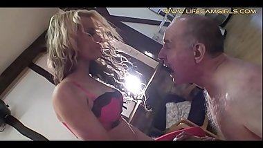 Sexy young sadist girl feeds her grandfather with snot and spit humiliating him www.lifecamgirls.com