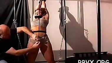Attractive young girl gets her first servitude experience