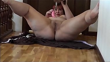 Sexy anal orgasm and double penetration, beautiful plump girlfriend with big butt masturbates.