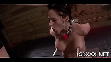This babe gets aroused from being force drilled by a large cock