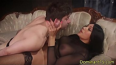 Ts BDSM babe ballslicked while jerking dick