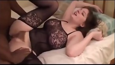 Beautiful woman with hairy pussy and intimate clothes fucks on bbc