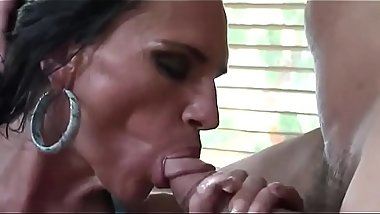 Lustfull Big tits MOM Filly stepmother likes to swallow enormous white dick till c