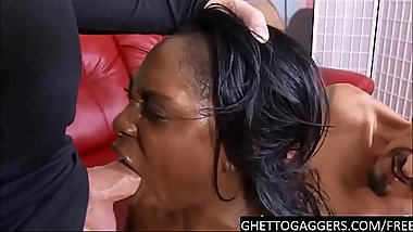 Brutal Interracial facefucking for a dirty black whore