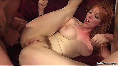 Huge tits redhead gets double penetration