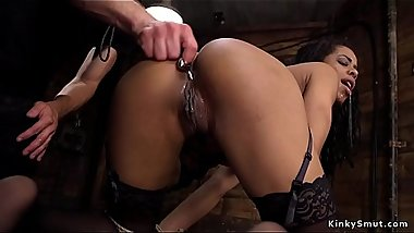 Ebony anal queen gets slave training