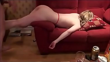Young Whore Bent Over Couch And Pounded Out