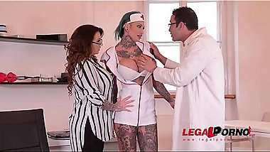 Tattooed Nurses Calisi Ink &amp_ Harmony Reigns Fucked By Brit Patient At Clinic GP098