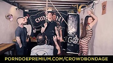 CROWD BONDAGE - Tiffany Doll spanked and hair pulled in BDSM fuck