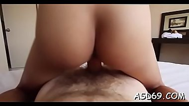 Asian gal shows off her banging skills to a curious dude