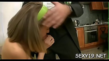 Fascinating darling is delighting old teacher with oral engulfing