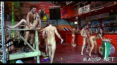 Eager juvenile amateurs enjoying a real life sex party