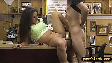 Tight brunette woman nailed by pawn guy